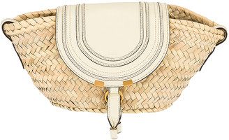 Chloé Raffia Marcie Shoulder Bag in Natural White | FWRD