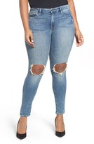 Good American Plus Size Women's Good Legs Ripped Skinny Jeans