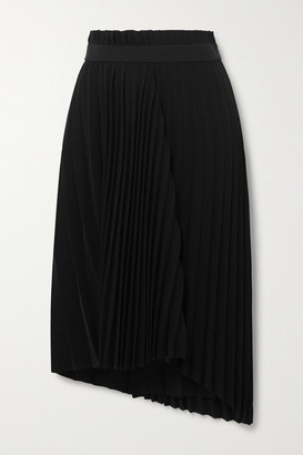 Balenciaga Asymmetric Pleated Crepe Midi Skirt - Black