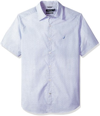 Nautica Men's Wrinkle Resistant Short SLV Print Pattern Button Down Shirt