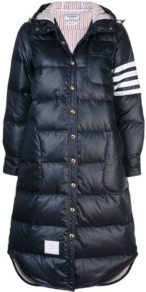 Thom Browne 4-Bar stripe long puffer jacket