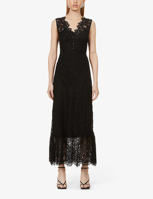 Self-Portrait Sleeveless scalloped-trim lace midi dress
