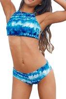 Sundray Woman's Solid Push up padded Tankini Tops Halter 2PCS Bikini Sets M