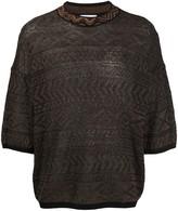 Magliano short sleeve Aztec-knit jumper