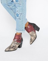 Daisy Street Snake Print Heeled Ankle Boots