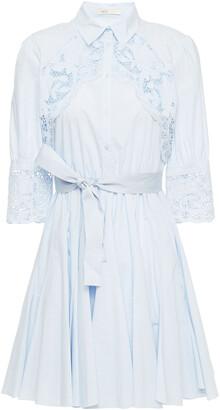 Maje Rebella Broderie Anglaise-trimmed Cotton-poplin Mini Shirt Dress
