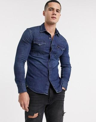 Levi's barstow western slim fit denim shirt in modern stretch dark worn-Navy
