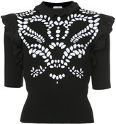 Sonia Rykiel embroidered ruffle sleeve top