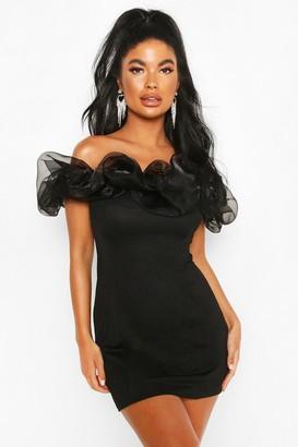 boohoo Petite Organza Off Shoulder Bodycon Dress