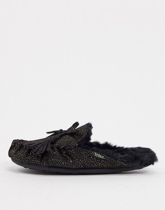 totes moccasin mule slippers in black sparkle