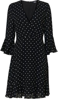 Wallis Black Polka Dot Flute Sleeve Wrap Dress