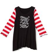 Beary Basics Red & Black 'Jingle All the Way' Sidetail Tunic - Toddler & Girls