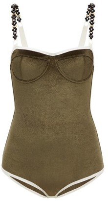 Ami Muse Studio - Beaded Velvet Bodysuit - Womens - Khaki