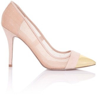 Paper Dolls Footwear Orla Nude Sheer Gold Toe Cap Court Shoes