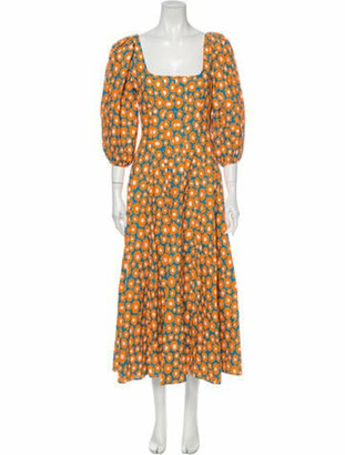 STAUD Floral Print Long Dress w/ Tags Orange