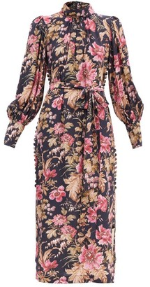 Zimmermann Lucky Floral-print Side-button Silk Dress - Pink Multi