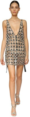 Azzaro Crystal Embellished Mesh Mini Dress