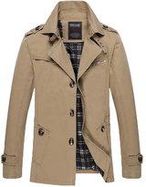 YOUJIA Mens Autumn Military Slim Single Breasted Jacket Parka Trench Coats (Tan, L)