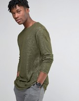 Selected Longline Long Sleeve T-Shirt With Curved Hem In Marl