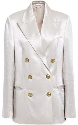 Brunello Cucinelli Double-breasted Bead-embellished Crinkled-satin Blazer
