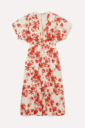 Johanna Ortiz Floral-print Cotton-poplin Midi Dress - Red