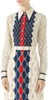 Gucci Long-Sleeve Rhombus-Print Shirt