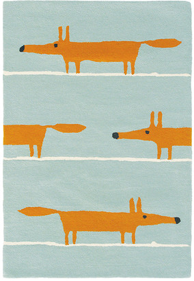 Scoot And Ride Scion - Mr Fox Rug - Aqua - 90x150cm