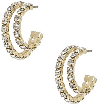 Ettika Rhinestone Huggie Hoop Earrings