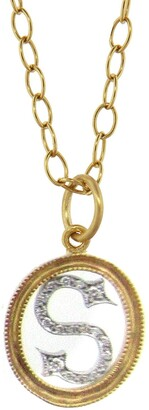 Cathy Waterman Double Milgrain Diamond Initial 22K Gold and Platinum Charm