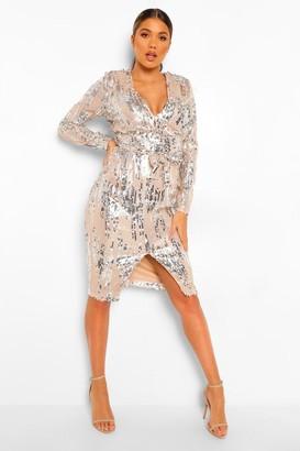 boohoo Sequin Long Sleeve Plunge Midi Dress