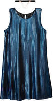 Sequin Hearts Metallic Pleated Shift Dress and Necklace Set, Big Girls