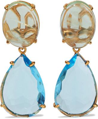 Bounkit 14-karat Gold-plated Fluorite And Blue Quartz Earrings