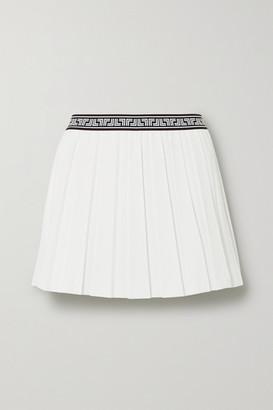 Tory Sport Jacquard-trimmed Pleated Crepe Mini Skirt