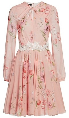Giambattista Valli Floral Keyhole Long Sleeve Silk Dress
