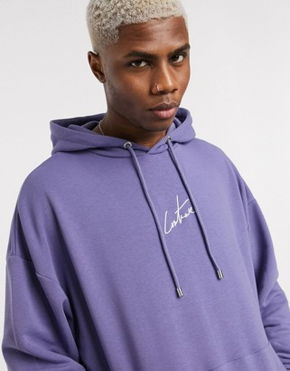 The Couture Club oversized applique hoodie with hood logo in purple