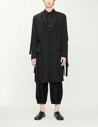 Yohji Yamamoto Tab-detail wool coat