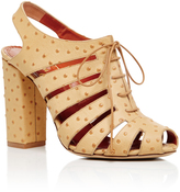 Charlotte Olympia Embellished Calf Leather Mavis Lace Up Heels