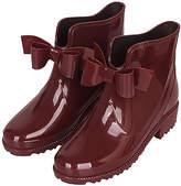 Jumiti JUMITI Women's Cold Weather Boots red - Burgundy Bow Patent Short Rain Boot - Women