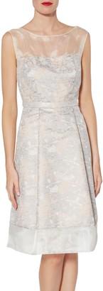 Gina Bacconi Katrina Floral Jacquard Dress, Rose Gold