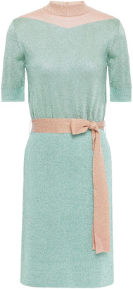 Missoni Belted Two-tone Metallic Knitted Dress