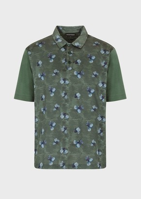 Emporio Armani Floral Watercolour-Print Polo Shirt