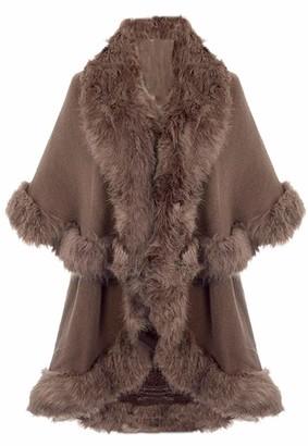 Handbag Bliss Beautiful Faux Fur Shawl Cape Wrap One Size Stunning Taupe