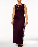 Betsy & Adam Plus Size Embellished Keyhole Gown