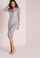 Missguided Lace Button Up Midi Shirt Dress Grey