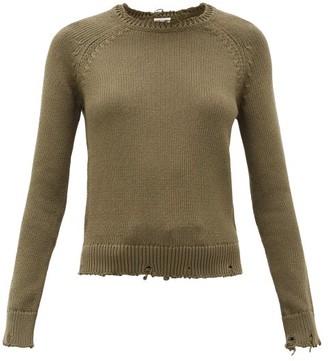 Saint Laurent Laddered Cotton Sweater - Khaki