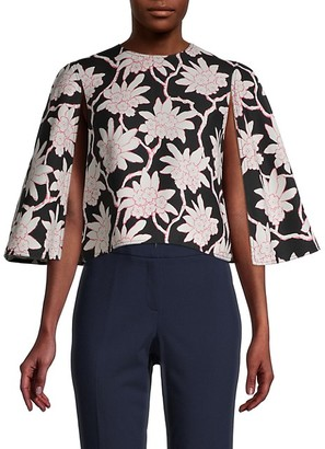 Valentino Floral Cape-Sleeve Shirt