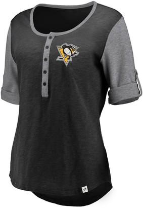 Women's Fanatics Branded Black Pittsburgh Penguins True Classics Henley T-Shirt