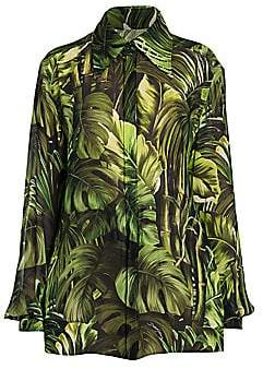 Dolce & Gabbana Women's Tropical-Leaf Print Georgette Blouse