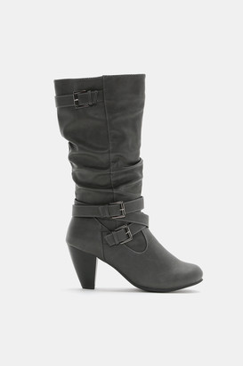 Ardene Faux Leather Buckle Boots - Shoes |