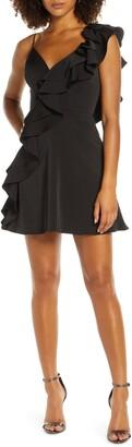 Mac Duggal One-Side Ruffle Party Dress